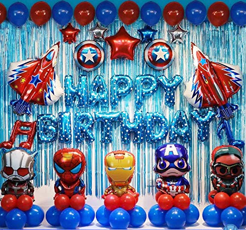 Avengers Birthday party supplies Superhero Birthday Party Decorations Superhero Balloons(Iron man, Spider man, Ant man, Captain America) Free Air Pump and Tape