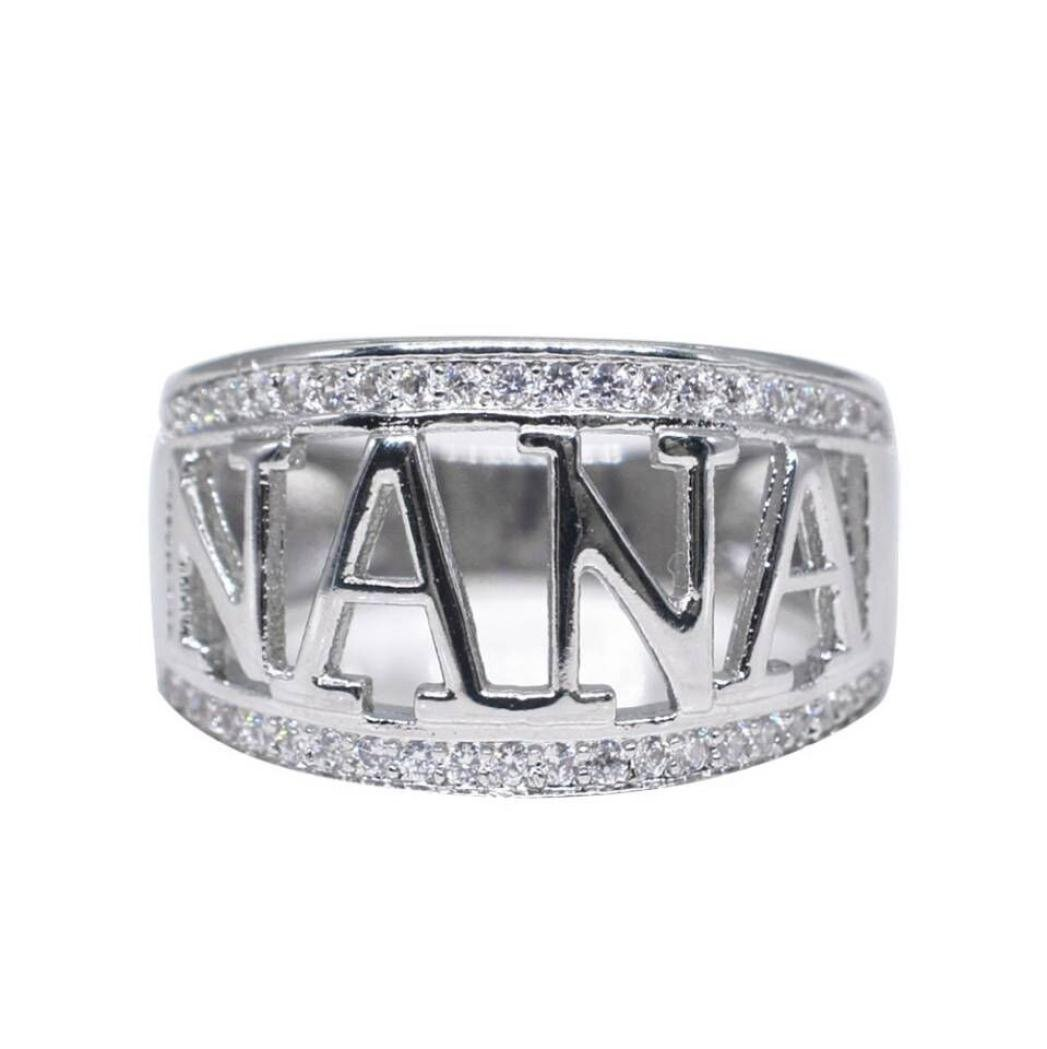 Lethez Clearance NANA Letter Band Ring New Exquisite Cubic Zirconia Diamond Engagement Wedding Jewelry (Silver, 7)