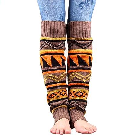 UEETEK Mujeres pata punto Boho Crochet largo arranque calcetines calentadores color caqui: Amazon.es: Hogar