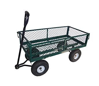 Carretilla de mano para jardín de 4 ruedas metálicas y de capacidad de 200 kg,