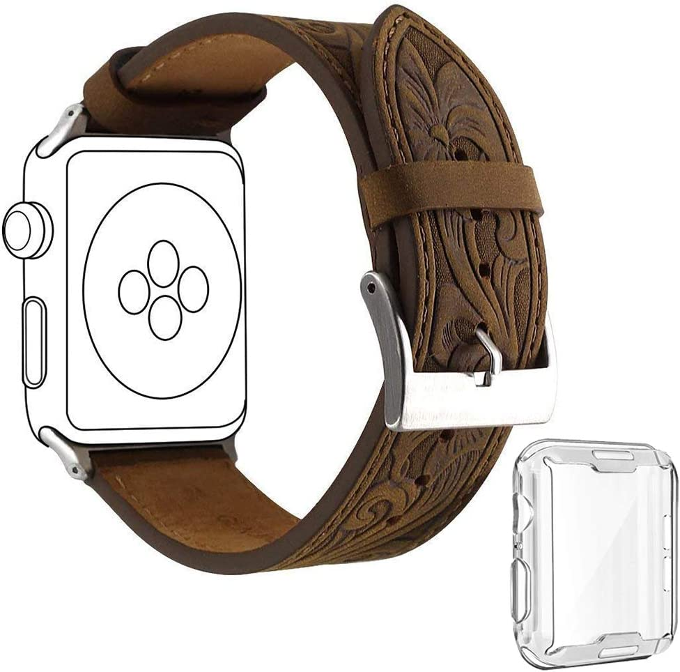ICANZUO Smartwatch Band Compatible for Apple iWatch - 40mm (also work for 38mm) Genuine Leather Strap 22mm with Case, Grey