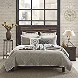 Taupe 3-Piece King/Cal King Coverlet Set Made From Cotton, Chevron Pattern and Contemporary Style Included Cross Scented Candle Tart