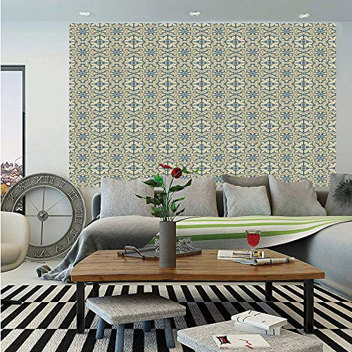 Geometric Huge Photo Wall Mural,Flora Pattern Victorian Inspired Baroque Style Design Abstract Leaves Retro Decorative,Self-adhesive Large Wallpaper for Home Decor 108x152 inches,Bluegrey Yellow ()