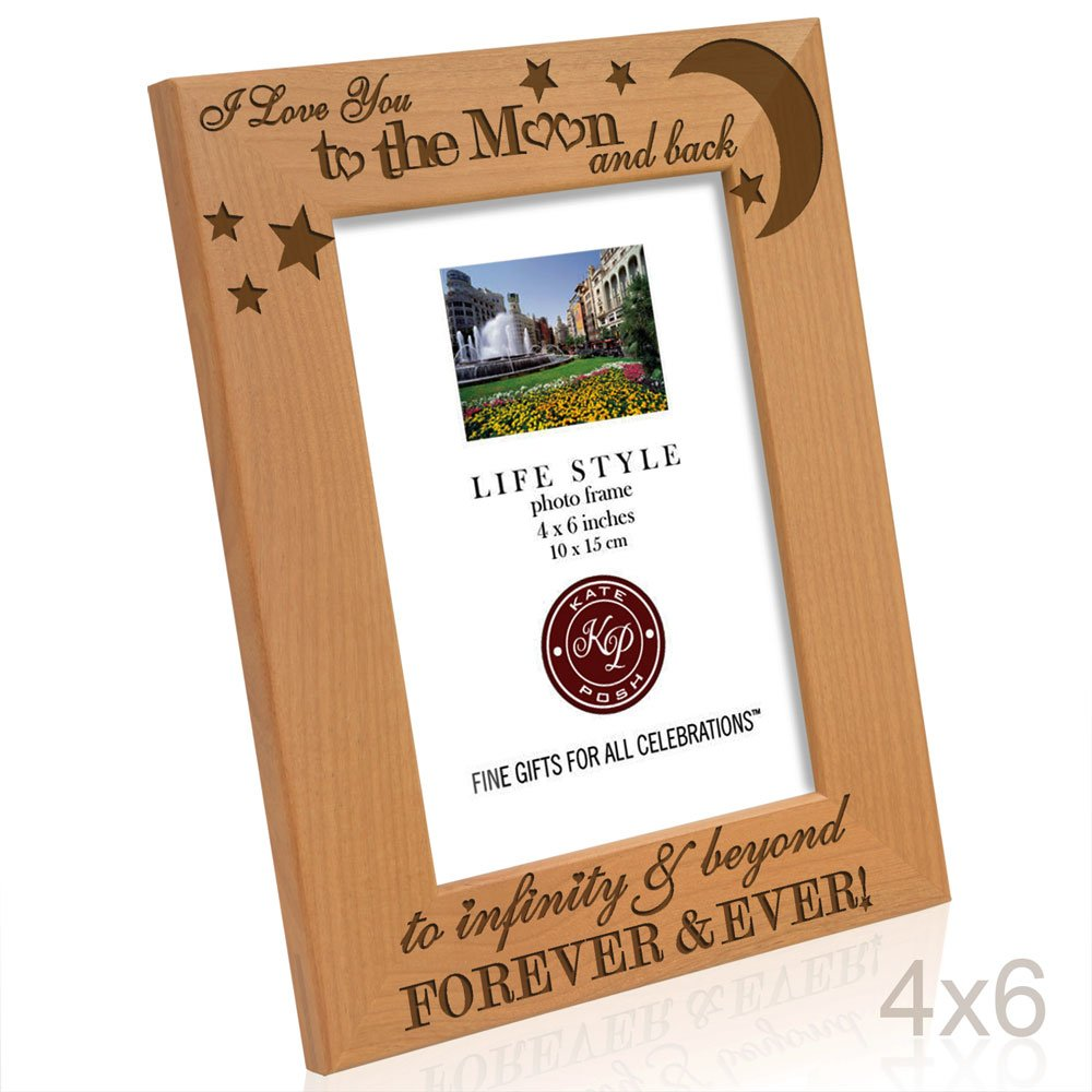 Kate Posh - I love you to the moon and back, to infinity & beyond, forever & ever - Engraved Solid Wood Picture Frame (4x6-Vertical) by Kate Posh (Image #4)