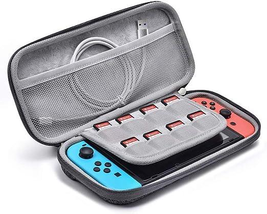 Estuche ultra delgado para Nintendo Switch, diseño original Estuche rígido portátil Estuche de viaje Funda protectora y capacidad para hasta 8 cartuchos de juego, gris: Amazon.es: Videojuegos