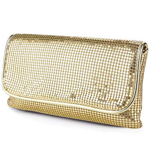 [expouch Women's Bling Clutch Handbag Aluminum Metal Mesh Evening Bag with Detachable Chain Shoulder Strap for Cocktail Party Wedding (Gold)] (Metal Mesh Bag)