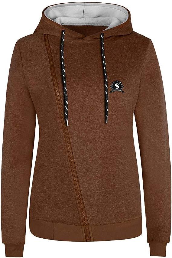 TALLA XS. Newbestyle - Sudadera con capucha para mujer con capucha y cremallera oblicua