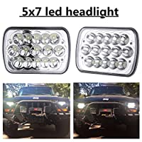 "(2 Pcs) 5"" x 7"" 6x7inch Rectangular LED Headlights for Jeep Wrangler YJ Cherokee XJ Toyota PickupTrucks 4X4 Offroad Headlamp Replacement H6054 H5054 H6054LL 69822 6052 6053"