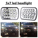 "(2 Pcs) 5"" x 7"" 6x7inch Rectangular LED Headlights for Jeep Wrangler YJ Cherokee XJ Trucks 4X4 Offroad Headlamp Replacement H6054 H5054 H6054LL 69822 6052 6053"