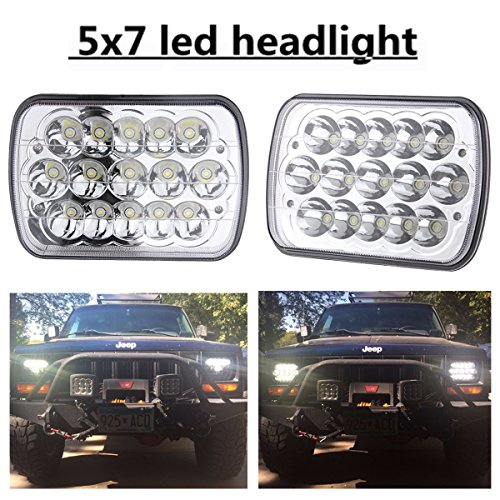 (2 Pcs) 5″ x 7″ 6x7inch Rectangular LED Headlights for Jeep Wrangler YJ Cherokee XJ Trucks 4X4 Offroad Headlamp Replacement H6054 H5054 H6054LL 69822 6052 6053