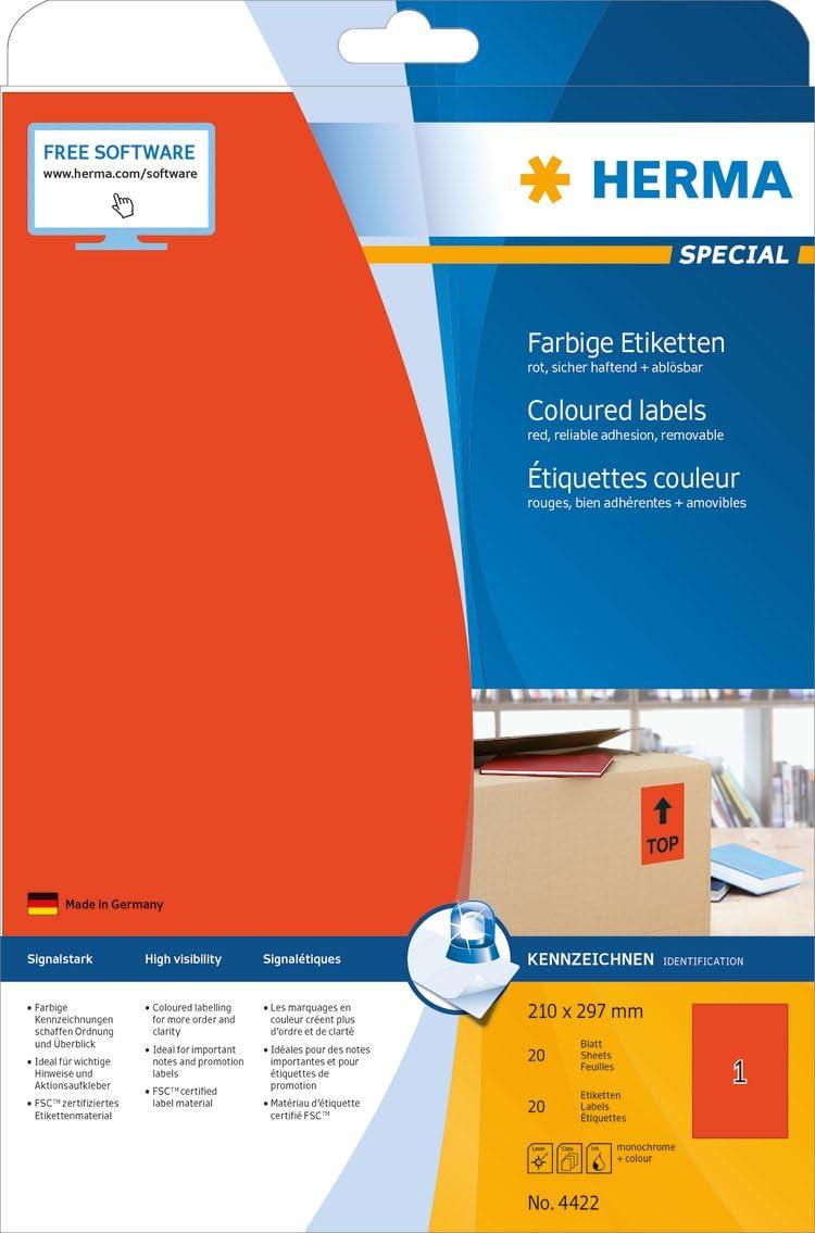 960 Klebeetiketten 45,7 x 21,2 mm, 20 Blatt, Papier, matt abziehbare und wieder haftende Farbetiketten blau selbstklebend HERMA 4368 Farbige Etiketten DIN A4 abl/ösbar bedruckbar