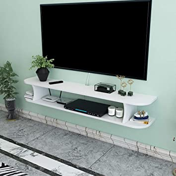 Estante flotante Estante de la pared Estante de TV montado en la pared multimedia Pequeños productos electrónicos Estante de almacenamiento Tablero de TV Estante de decoración de pared de fondo de TV: