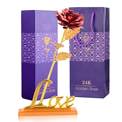305550ab73a4 INTERNATIONAL GIFT Valentine Gift Red Rose 25 cm with Love Stand and  Beautiful Carry Bag for Valentine Gift