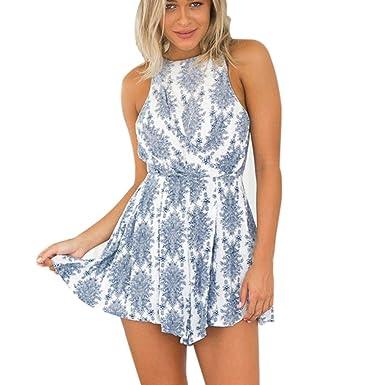 MRULIC Frauen Casual Print Camis Backless Jumpsuit Strap Hemd  Neckholder(Blau,EU-36 3bbdad7307
