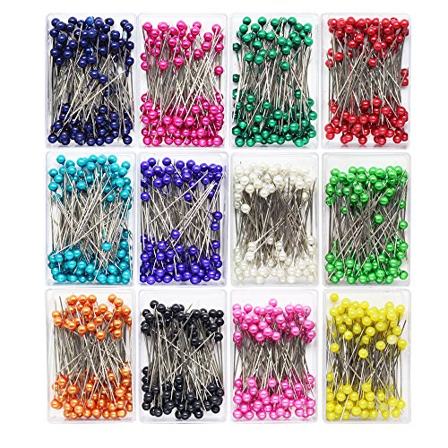 Dreamtop 1200pcs 36 mm Sewing Pins Pearlized Head Pins for Sewing Dressmaking Jewelry Components Floral Decoration, 12 Colors ()