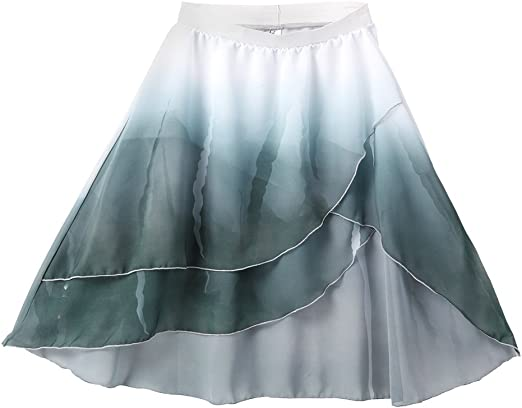 Alexandra Collection Womens Flowing High-Low Teal Watercolor Dance Skirt