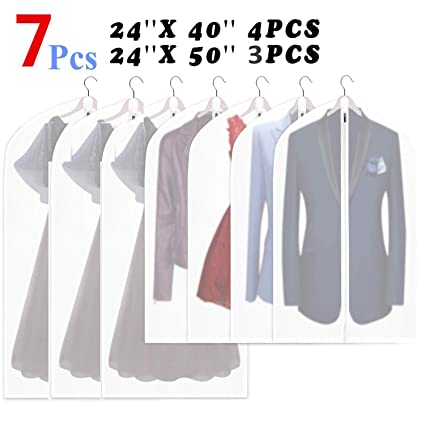 98e157da2b14 QICHENGZ Hanging Garment Bag Lightweight Suit Bags Moth-Proof (Set of 7)  with Study Full Zipper for Closet Storage and Travel