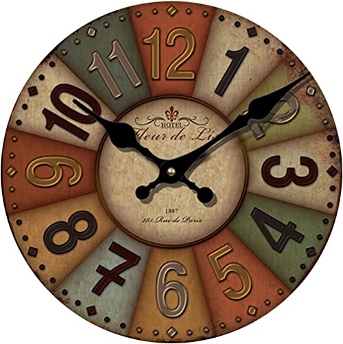 Yeyo 20inch Large Retro European Style Wall Clock Wooden MDF Battery Operated Waterproof Silent Art Decor