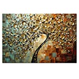 AtfArt Hand Painted Textured Palette Knife Canvas Painting Thick Knife of the Canvas Oil Paintings Golden Flowers to Home Decoration (No Frame)