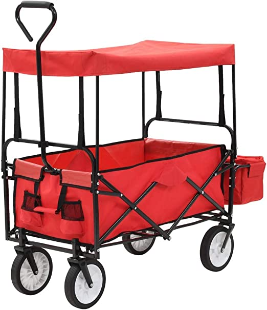 Festnight Carrito Plegable/Mano Carro/Carro para pícnic/Carrito de Jardín Plegable de Acero con Capota, Rojo 116 x 54 x 119 cm Carga Máxima 75 kg: Amazon.es: Hogar