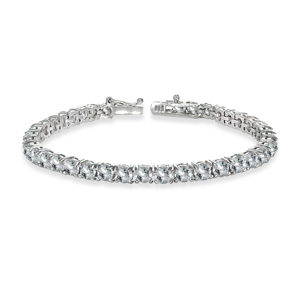 Sterling Silver 4mm Aquamarine Round-cut Tennis Bracelet