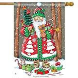 Jolly Santa Christmas House Flag Candy Cane Gift Snow Tree Presents 28″ x 40″ For Sale