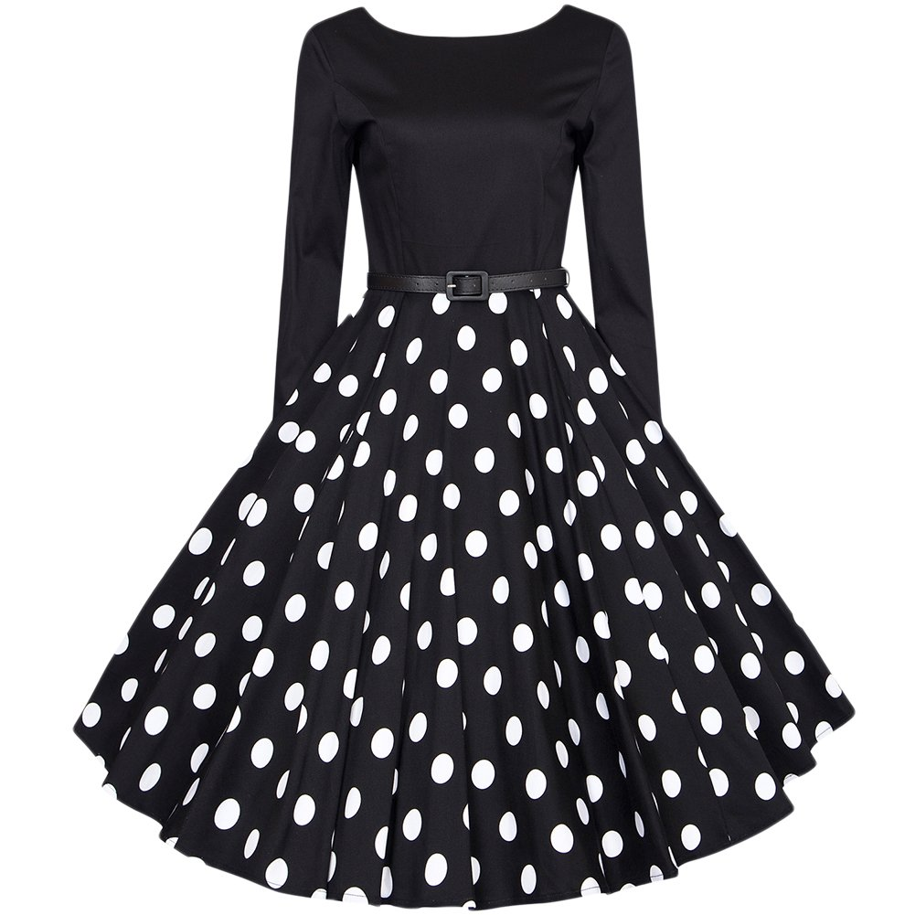 50s Vintage Rockabilly Tupfen Retro Polka Dots Hepburn Stil Nach Dem V-Ausschnitt Mit Langen Ärmeln Kleid Schwingen Cocktailkleid