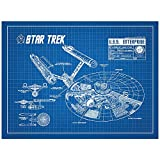 "Inked and Screened Sci-Fi and Fantasy ""Star Trek U.S.S Enterprise Infographic"" Print, Blue Grid - White Ink"
