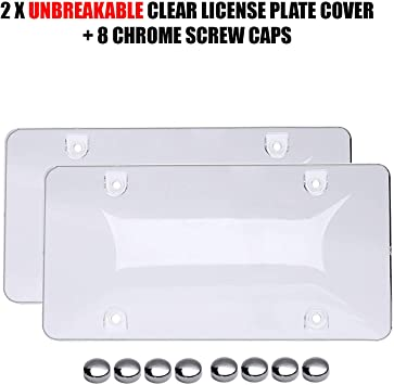 DARK Screws Included 2 Pack Clear Bubble Design Novelty Plate Covers to Fit Any Standard US /& CANADA Plates Unbreakable Frame /& Covers to Protect Plates WILDTECH Car License Plates Shields and Frames Combo