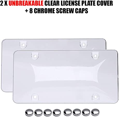 XCLPF 2 pcs License Plate Covers with Clear Bubble Design Unbreakable Fits All Standard 6x12 Inches Novelty//License Plates