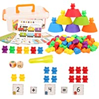 Barwa Colorful Counting Bears Set - Montessori Rainbow Bears Mathing Game with Stacking Cups Number Color Recognition…