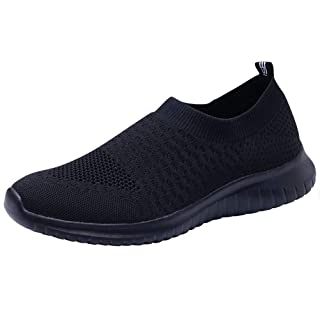 LANCROP Women's Lightweight Walking Shoes - Casual Breathable Mesh Slip on Sneakers 12 US, Label 44 All Black