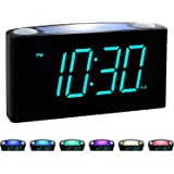 "Rocam Digital Alarm Clock for Bedrooms - Large 7"" LED Display with Dimmer, Snooze, 7 Color Night Light, Easy to Set, USB Char"