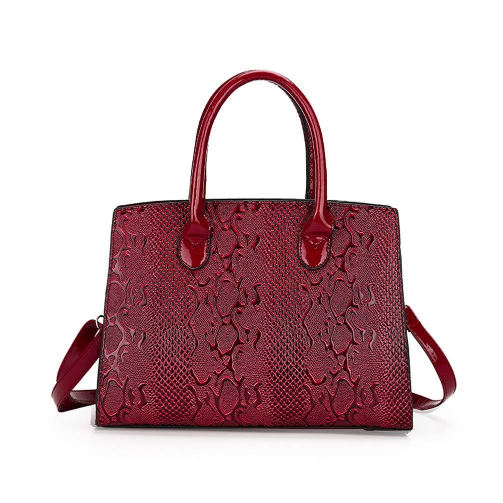 Hot Trend of The Fashion Personality Bulk Lock Large Handbag Casual Wild Messenger Shoulder Messenger Bag Red W32H22D14 cm