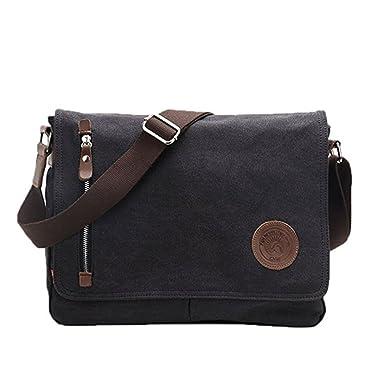 a29e32447031 Men s Vintage Canvas Leather Messenger Crossbody Shoulder Bag Satchel for Working  Business Hiking Laptop School Travel
