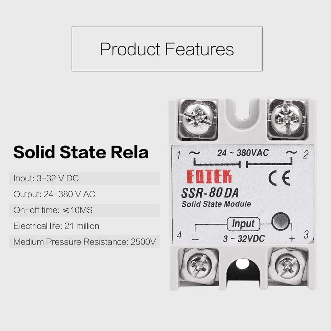 -2 Farbe: wei/ß Solid State Relais DC-AC 10A 25A 40A 60A 80A 100A 12V 3-32V DC bis 220 V AC 24-380V Last einphasig SSR f/ür die Temperaturregelung