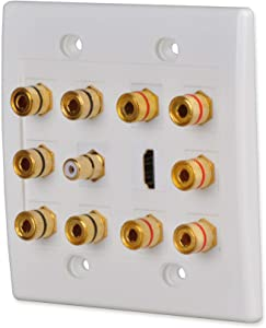 Conwork Home Theater Wall Plate, 5.1 Surround Distribution Home Theater Gold Plated Banana Binding Post Couplers for 5 Speakers, 1 RCA Keystone Jack for Subwoofer & 1 HDMI for 4K UHD Video