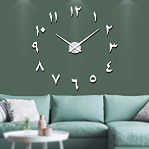 VANGOLD Large DIY Wall Clock Modern 3D Wall Clock with Arabic Numerals for Home Office Decorations Gift (Silver)