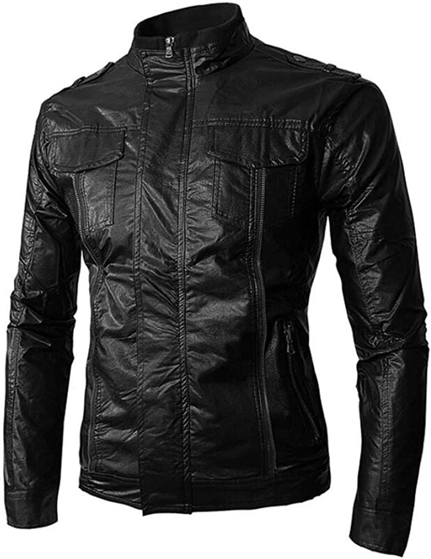 XiaoTianXinMen XTX Mens Zip Up Stand Collared Pockets Long Sleeve Moto Faux Leather Bomber Jacket Black US S