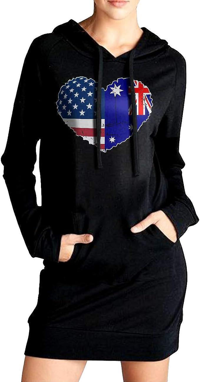 Womens Sports Sweatshirt Long Hoodies Dress Australia Flag Heart Love Sport Outwear with Kanga Pocket
