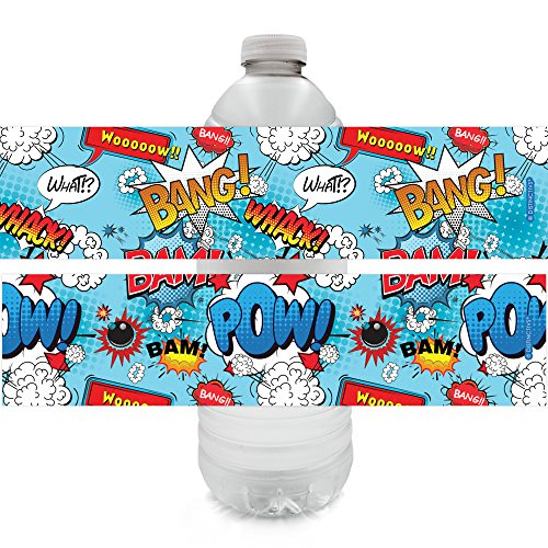 (Comic Book Superhero Party Water Bottle Labels (24 Count))