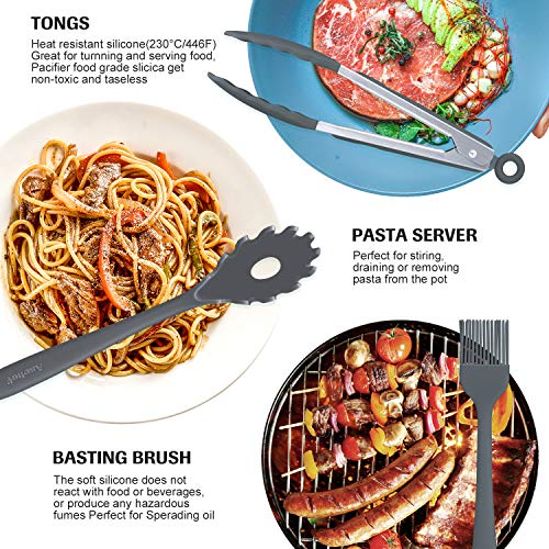 20in1 Silicone Cooking Kitchen Utensils Set Nonstick Cookware, Cooking Tool BPA Free Non Toxic Silicone Turner Tongs Spatula Spoon Kitchen Gadgets Utensil Kit