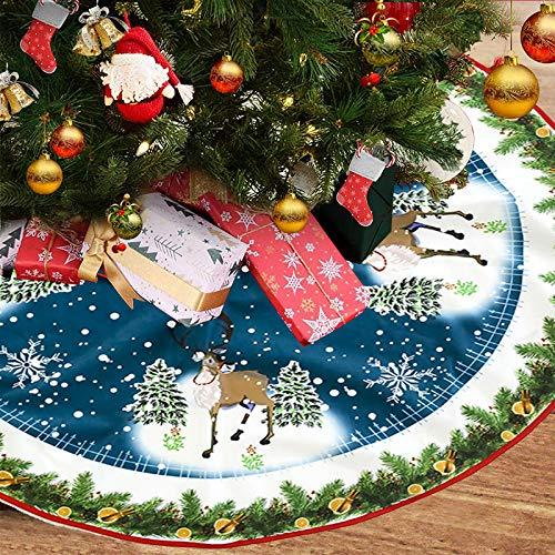FLYFLY Faldas arbol Navidad, 40 Inches Base de árbol de Navidad Falda con diseño navideño para Navidad Fiesta de año Nuevo Vacaciones en casa decoración (Estilo de Alce)