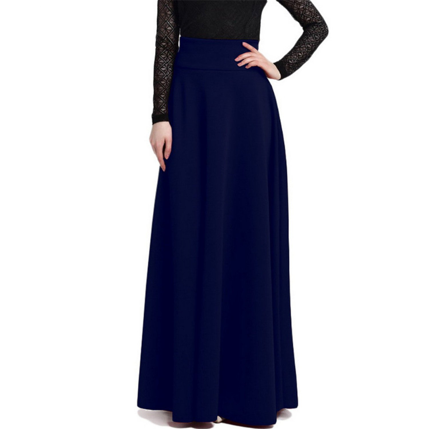 401320f4a5cde2 Chiced High Waist Pleat Elegant Skirt Solid Color Long Skirts Women Plus  Size at Amazon Women's Clothing store: