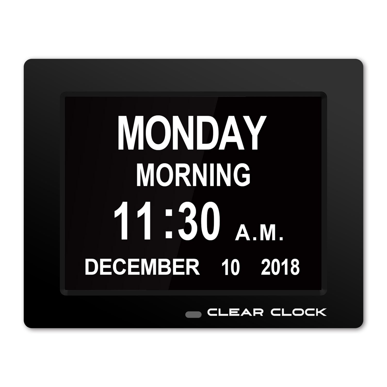 Clear Clock [Newest Version] Extra Large Digital Memory Loss Calendar Day Clock With Optional Day Cycle + Alarm Perfect For Elderly + Impaired Vision Dementia Clock Black CC180-BLK