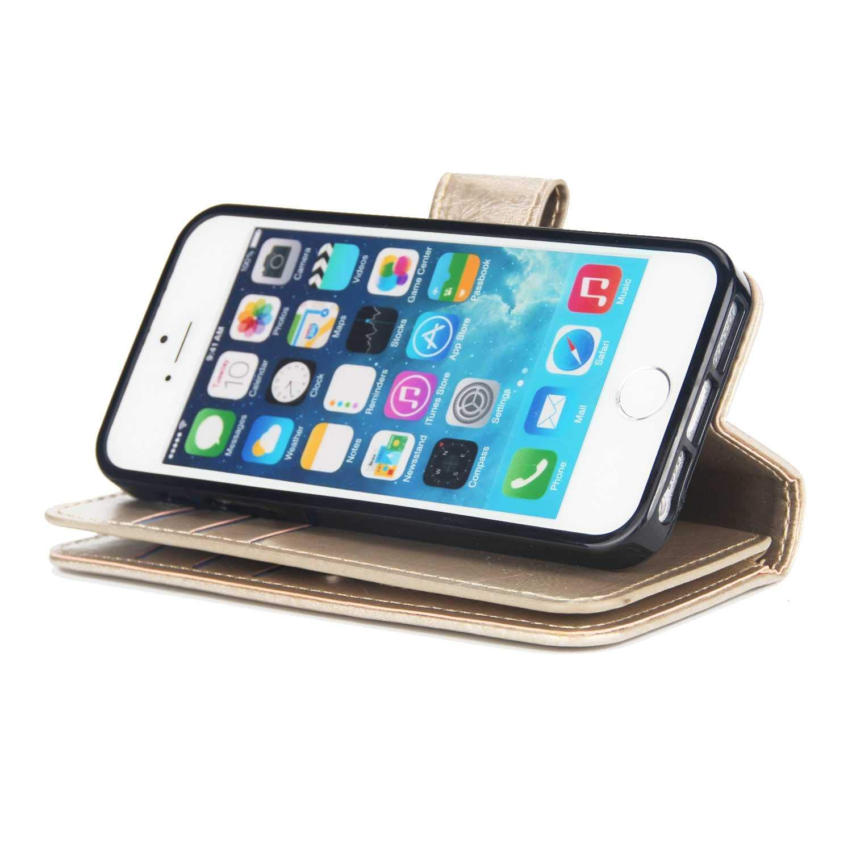 Funda iPhone SE // 5 5S 9 Ranuras para Tarjeta Bear Village/® Funda de Cuero #1 Negro con Carcasa Interna de TPU Magn/ético Soporte Funda para Apple iPhone SE // 5 5S