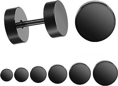Round black stainless steel gauge earrings Faux plug earrings Faux stretch earrings Dumbbell stud earrings Barbell earrings