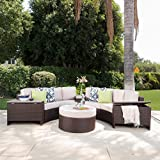 Lovely Riviera Otranto Outdoor Patio Furniture Wicker Piece Semicircular Sectional Sofa Seating Set w Waterproof Cushions buying guide explains however