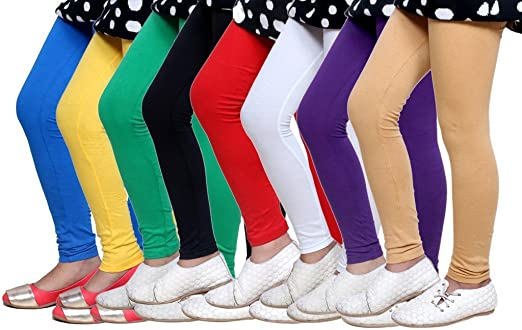 Indistar Big Girls Cotton Full Ankle Length Solid Leggings Pack of 6 -Multiple Colors-5-6 Years