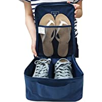 XINING Travel Shoe Bag Organizer Storage Pouch Portable Bags Waterproof with Zipper for Three Shoes (Blue)